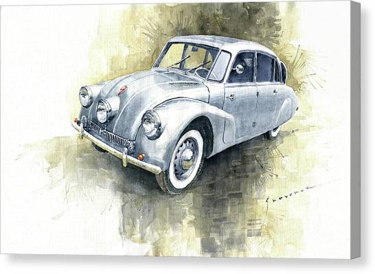 Classic Cars Canvas Print - 1939 Tatra T87  by Yuriy Shevchuk