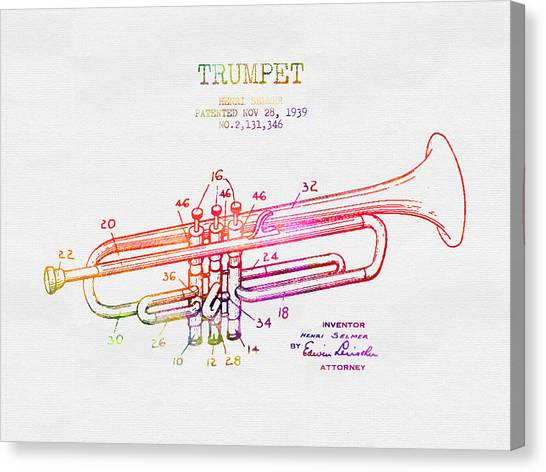 Brass Instruments Canvas Print - 1939 Trumpet Patent - Color by Aged Pixel