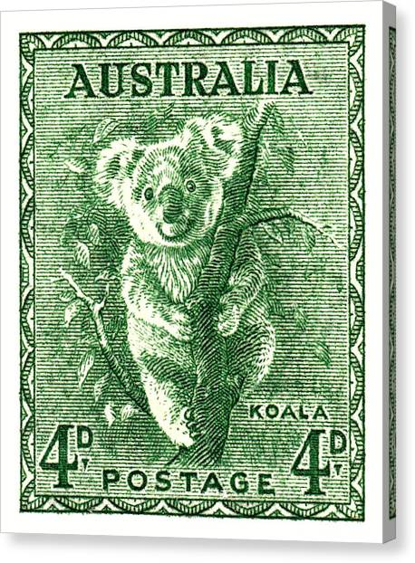 Koala Canvas Print -  1940 Australia Koala Postage Stamp by Retro Graphics