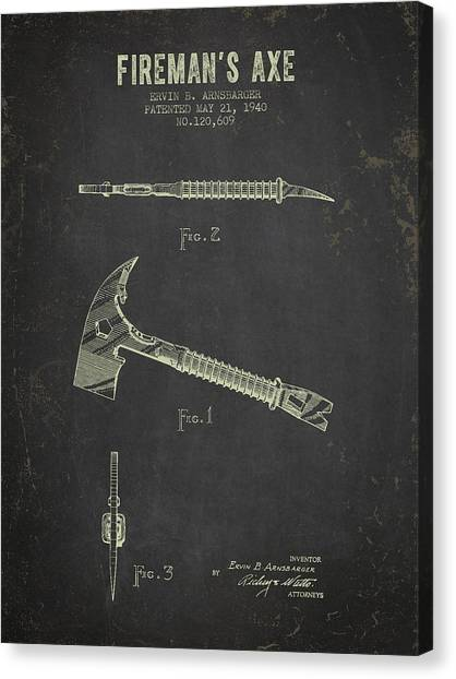 Axes Canvas Print - 1940 Firemans Axe Patent - Dark Grunge by Aged Pixel