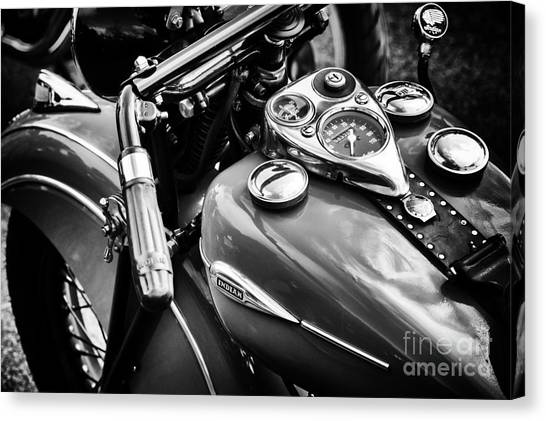 Scouting Canvas Print - 1940 Indian Sport Scout Motorcycle Monochrome  by Tim Gainey