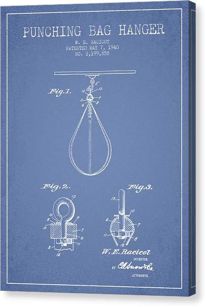 Ufc Canvas Print - 1940 Punching Bag Hanger Patent Spbx13_lb by Aged Pixel