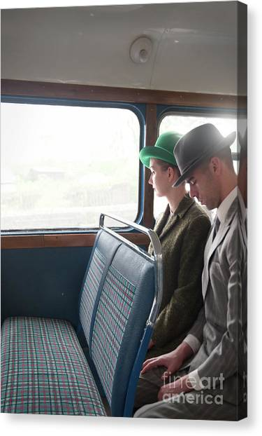 1940s Couple Sitting On A Vintage Bus Canvas Print