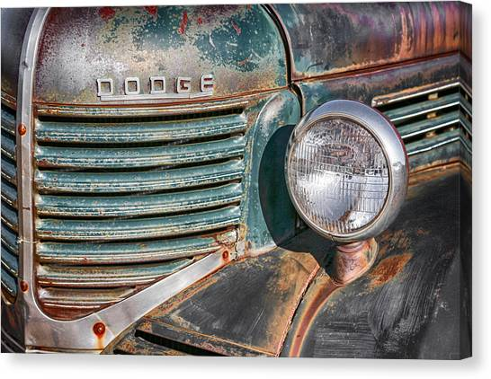 1940s Dodge Truck Front Grill And Headlight Canvas Print