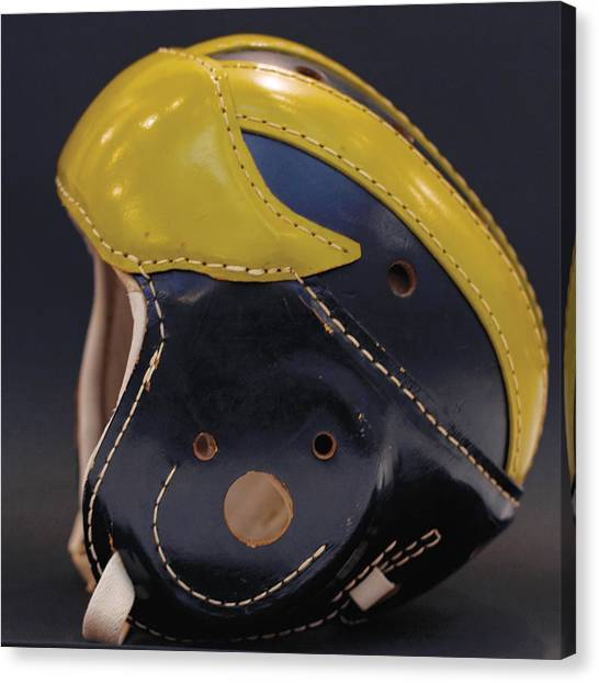 Canvas Print featuring the photograph 1940s Leather Wolverine Helmet by Michigan Helmet