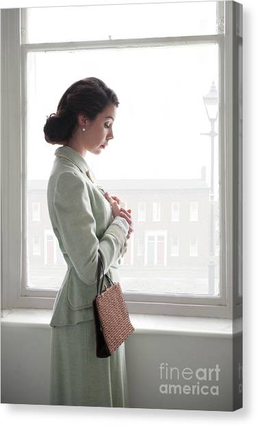 1940s Woman At The Window Canvas Print