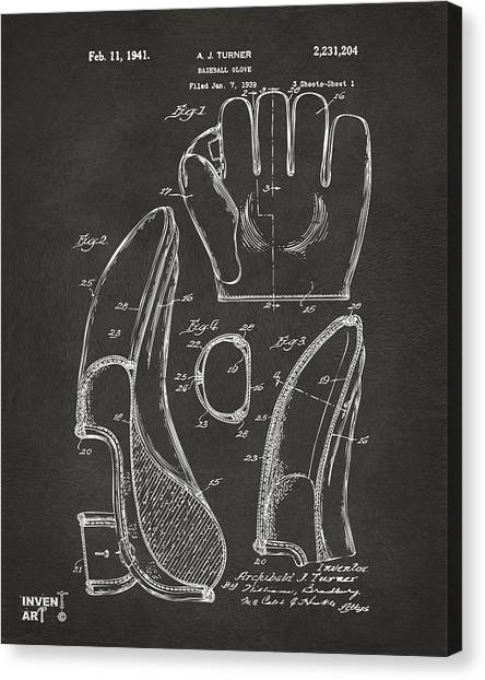 Catchers Canvas Print - 1941 Baseball Glove Patent - Gray by Nikki Marie Smith
