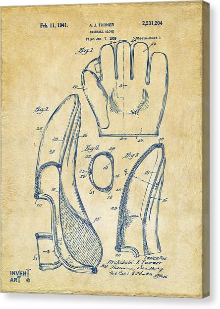 Media Canvas Print - 1941 Baseball Glove Patent - Vintage by Nikki Marie Smith