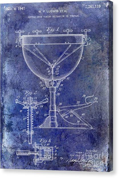 Snares Canvas Print - 1941 Ludwig Drum Patent Blue by Jon Neidert
