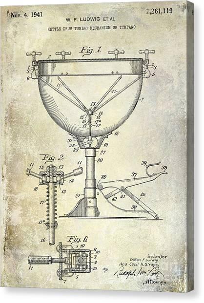 Snares Canvas Print - 1941 Ludwig Drum Patent  by Jon Neidert