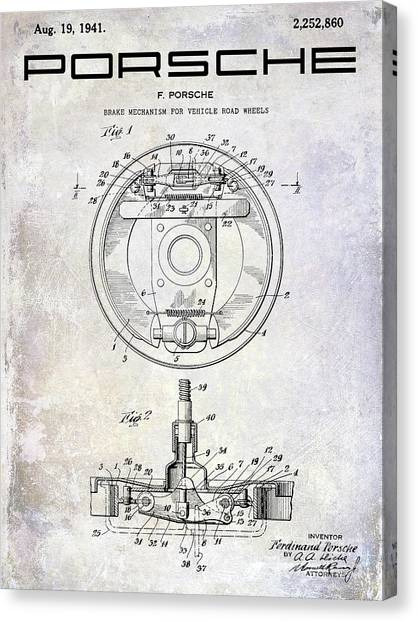 Brakes Canvas Print - 1941 Porsche Brake Mechanism Patent by Jon Neidert