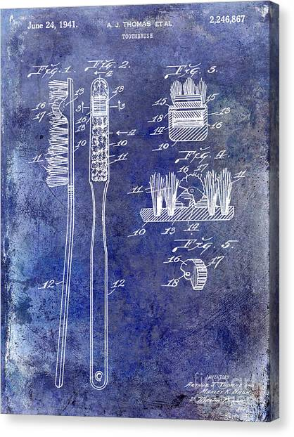 Toothbrush Canvas Print - 1941 Toothbrush Patent Blue by Jon Neidert
