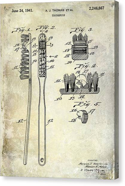 Cavity Canvas Print - 1941 Toothbrush Patent  by Jon Neidert