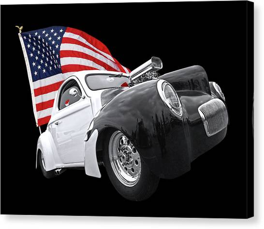 American Independance Canvas Print - 1941 Willys Coupe With Us Flag by Gill Billington