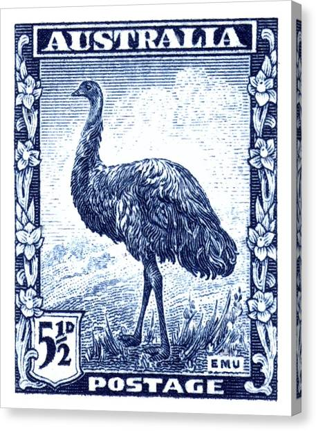 Emus Canvas Print - 1942 Australia Emu Bird Postage Stamp by Retro Graphics