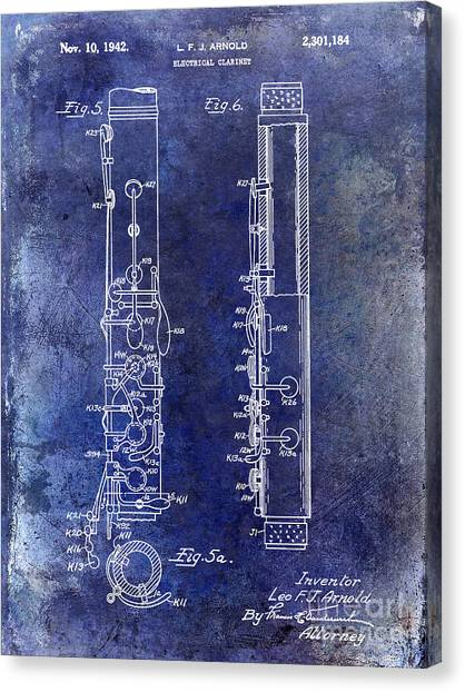 Clarinets Canvas Print - 1942 Electric Clarinet Patent Blue by Jon Neidert