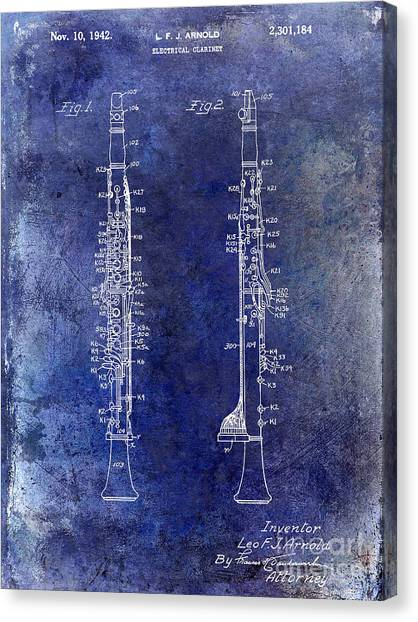 Clarinets Canvas Print - 1942 Electric Clarinet Patent  by Jon Neidert