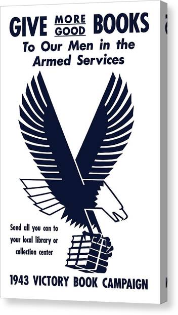 Libraries Canvas Print - 1943 Victory Book Campaign by War Is Hell Store
