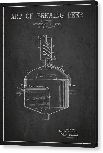 Brewery Canvas Print - 1944 Art Of Brewing Beer Patent - Charcoal by Aged Pixel
