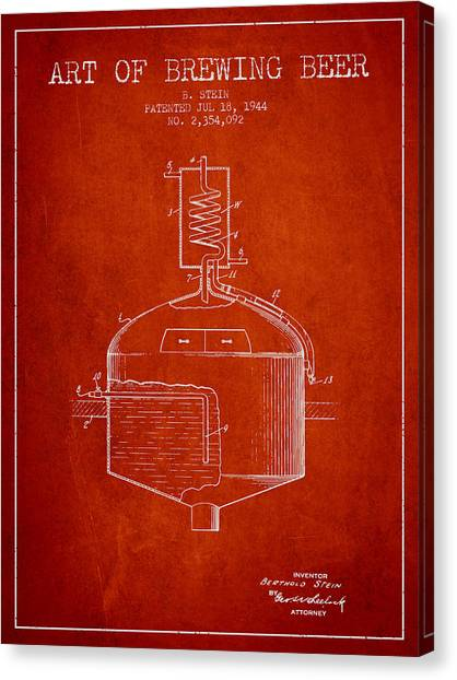Brewery Canvas Print - 1944 Art Of Brewing Beer Patent - Red by Aged Pixel