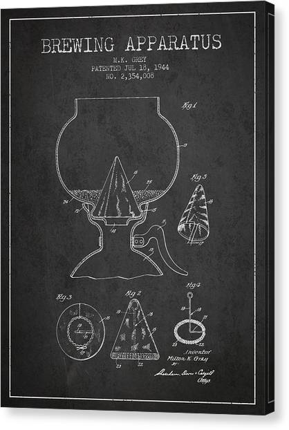 Brewery Canvas Print - 1944 Brewing Apparatus Patent - Charcoal by Aged Pixel