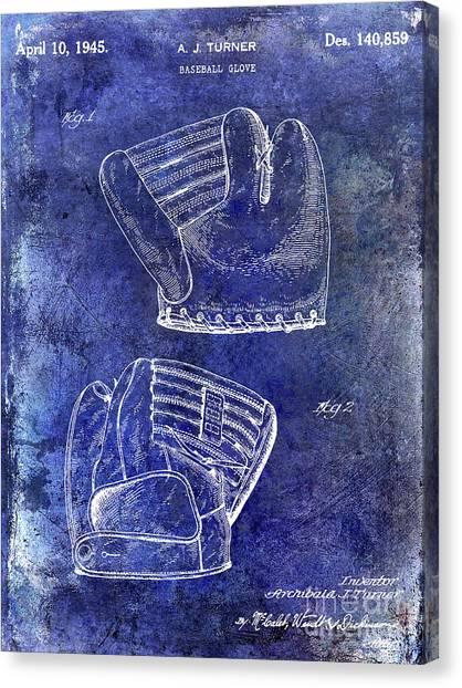 Ty Cobb Canvas Print - 1945 Baseball Glove Patent Blue by Jon Neidert