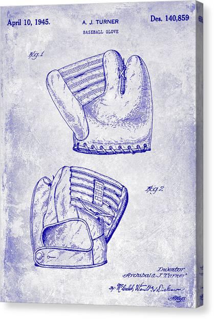 Ty Cobb Canvas Print - 1945 Baseball Glove Patent Blueprint by Jon Neidert