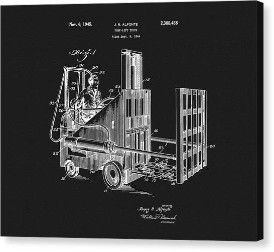Forklifts Canvas Print - 1945 Forklift Patent Design by Dan Sproul