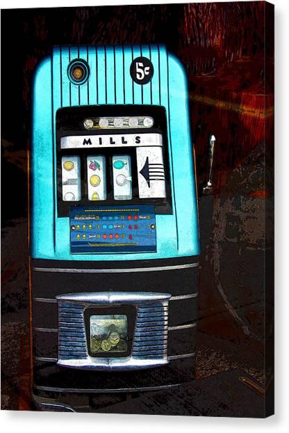 1945 Mills High Top 5 Cent Nickel Slot Machine Canvas Print
