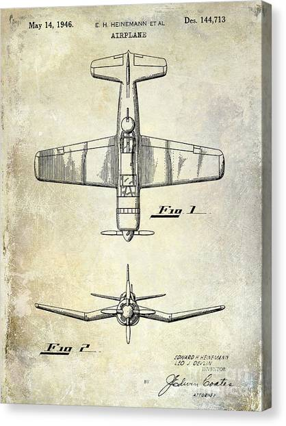 Aircraft Canvas Print - 1946 Airplane Patent by Jon Neidert