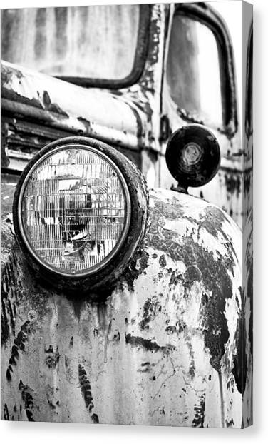 Classic Chevy Truck Canvas Print - 1946 Chevy Work Truck - Headlight Detail by Jon Woodhams