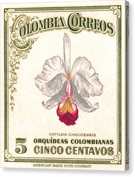 Colombian Canvas Print - 1947 Colombia Cattleya Chocoensisi Orchid Stamp by Retro Graphics