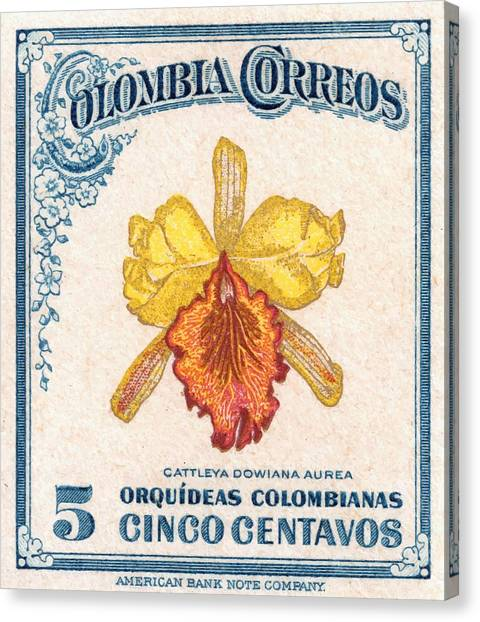 Colombian Canvas Print - 1947 Colombia Cattleya Dowiana Orchid Stamp by Retro Graphics