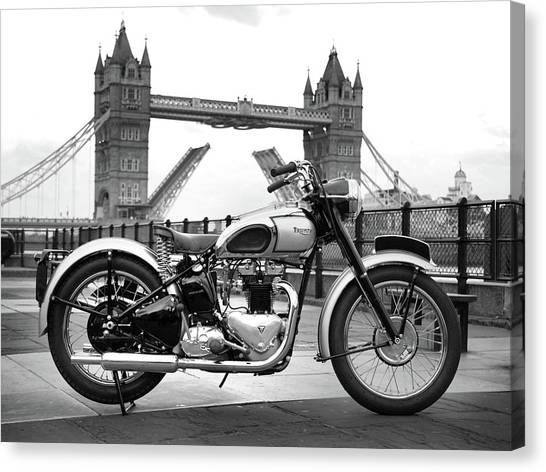 Classic Cycle Canvas Print - 1949 Triumph T100 by Mark Rogan