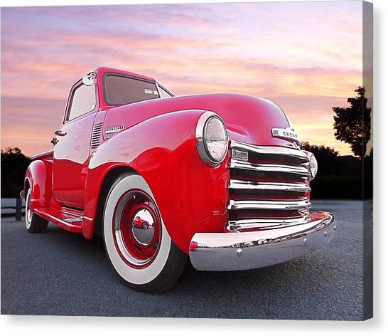 1950 Chevy Pick Up At Sunset Canvas Print