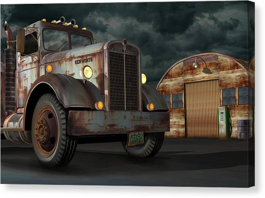 Rusty Truck Canvas Print - 1950 Kenworth by Stuart Swartz