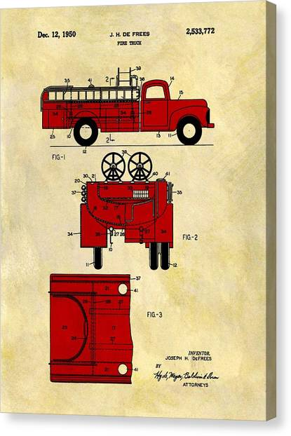 Nyfd Canvas Print - 1950 Red Firetruck Patent by Dan Sproul