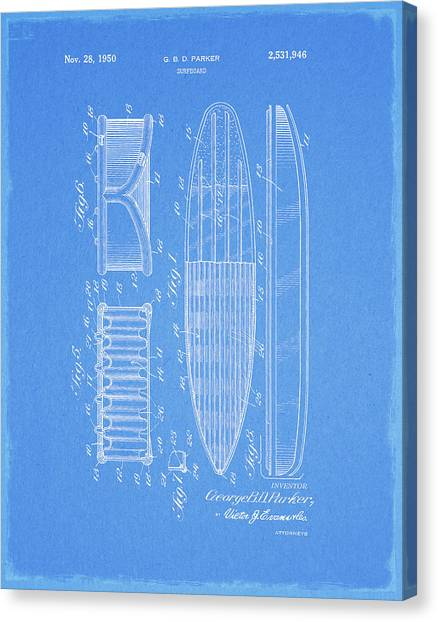 Surfboard Canvas Print - 1950 Surfboard Patent by Dan Sproul