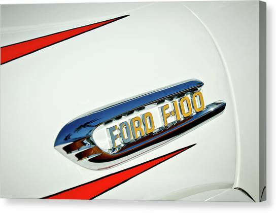 Ford Truck Canvas Print - 1950's Ford F-100 Fordomatic Pickup Truck Emblem by Jill Reger