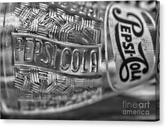 Pepsi Canvas Print - 1950s Pepsi Bottle In Black And White by Paul Ward