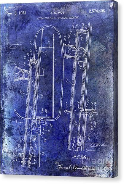 Ty Cobb Canvas Print - 1951 Baseball Pitching Machine Patent Blue by Jon Neidert