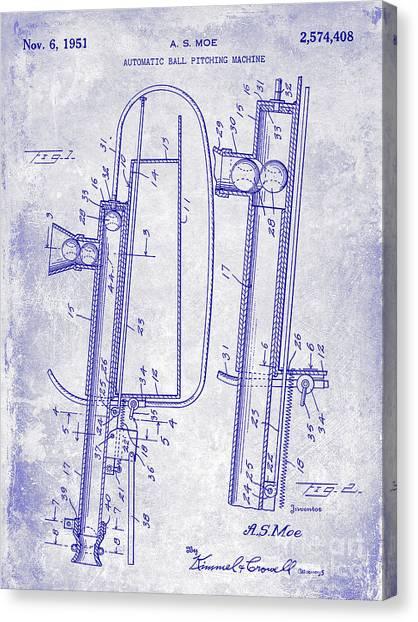 Ty Cobb Canvas Print - 1951 Baseball Pitching Machine Patent Blueprint  by Jon Neidert