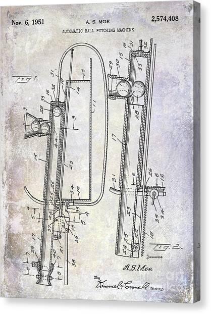 Ty Cobb Canvas Print - 1951 Baseball Pitching Machine Patent by Jon Neidert
