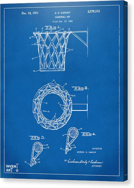 Canvas Print featuring the digital art 1951 Basketball Net Patent Artwork - Blueprint by Nikki Marie Smith