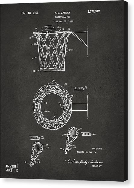 Canvas Print featuring the digital art 1951 Basketball Net Patent Artwork - Gray by Nikki Marie Smith
