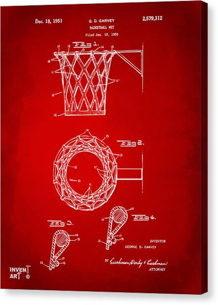 Canvas Print featuring the digital art 1951 Basketball Net Patent Artwork - Red by Nikki Marie Smith
