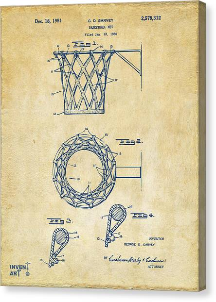 Canvas Print featuring the digital art 1951 Basketball Net Patent Artwork - Vintage by Nikki Marie Smith