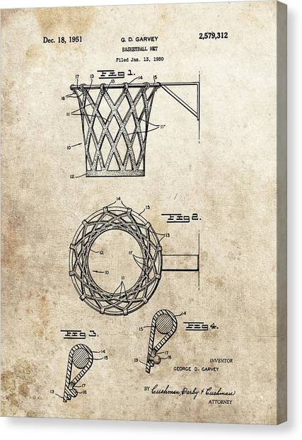 Three Pointer Canvas Print - 1951 Basketball Net Patent by Dan Sproul