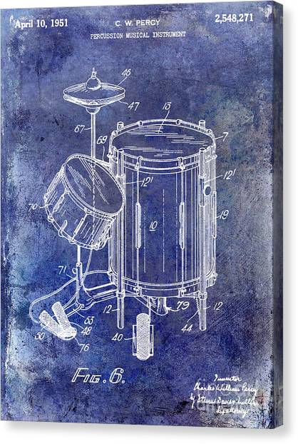 Snares Canvas Print - 1951 Drum Kit Patent Blue by Jon Neidert