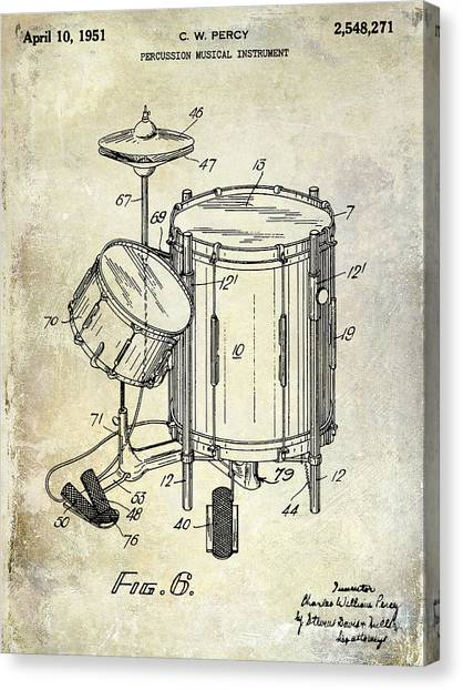 Snares Canvas Print - 1951 Drum Kit Patent  by Jon Neidert
